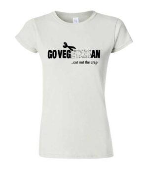Ženski beli kratki rokavi z veganskim motivom Go Vegan Cut out the crap