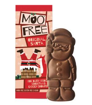 Moo Free Santa veganska mlečna čokolada v obliki božička