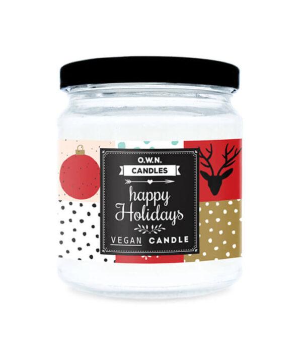 O.W.N. Candles Happy Holidays mala dišeča sveča