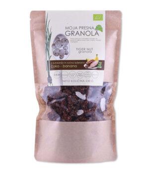 Drobtinka Presna Granola iz zemeljskih mandljev, čokolade in banane