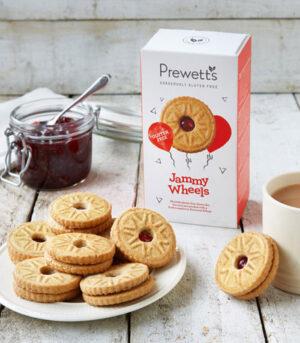 Prewetts Jammy Wheels piškoti z malinino marmelado brez glutena