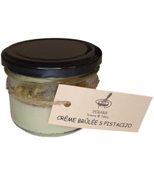 Veganski Crème brûlée s pistacijo v kozarčku