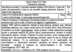 Viridian tekoči veganski vitamin D3 2000UI deklaracija