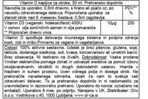 Viridian Vitamin D3 kapljice za otroke deklaracija