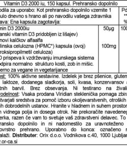 Viridian veganski vitamin D3, 150 kapsul deklaracija