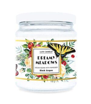 Luxi candle Dreamy Meadows Black Grapes, mala dišeča sveča v kozarcu