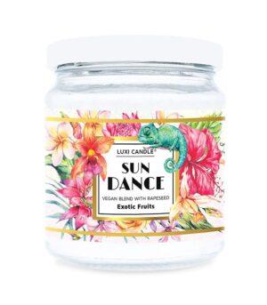 Luxi candle Sun Dance Exotic Fruits, mala dišeča sveča v kozarcu, z dišavo eksotičnih sadežev