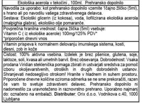 Viridian ekološka acerola vitamin C, 100 ml - bio - deklaracija