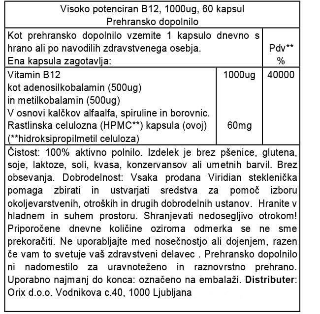 Viridian visoko potencirani vitamin B12, 1000 µg, 60 kapsul - deklaracija